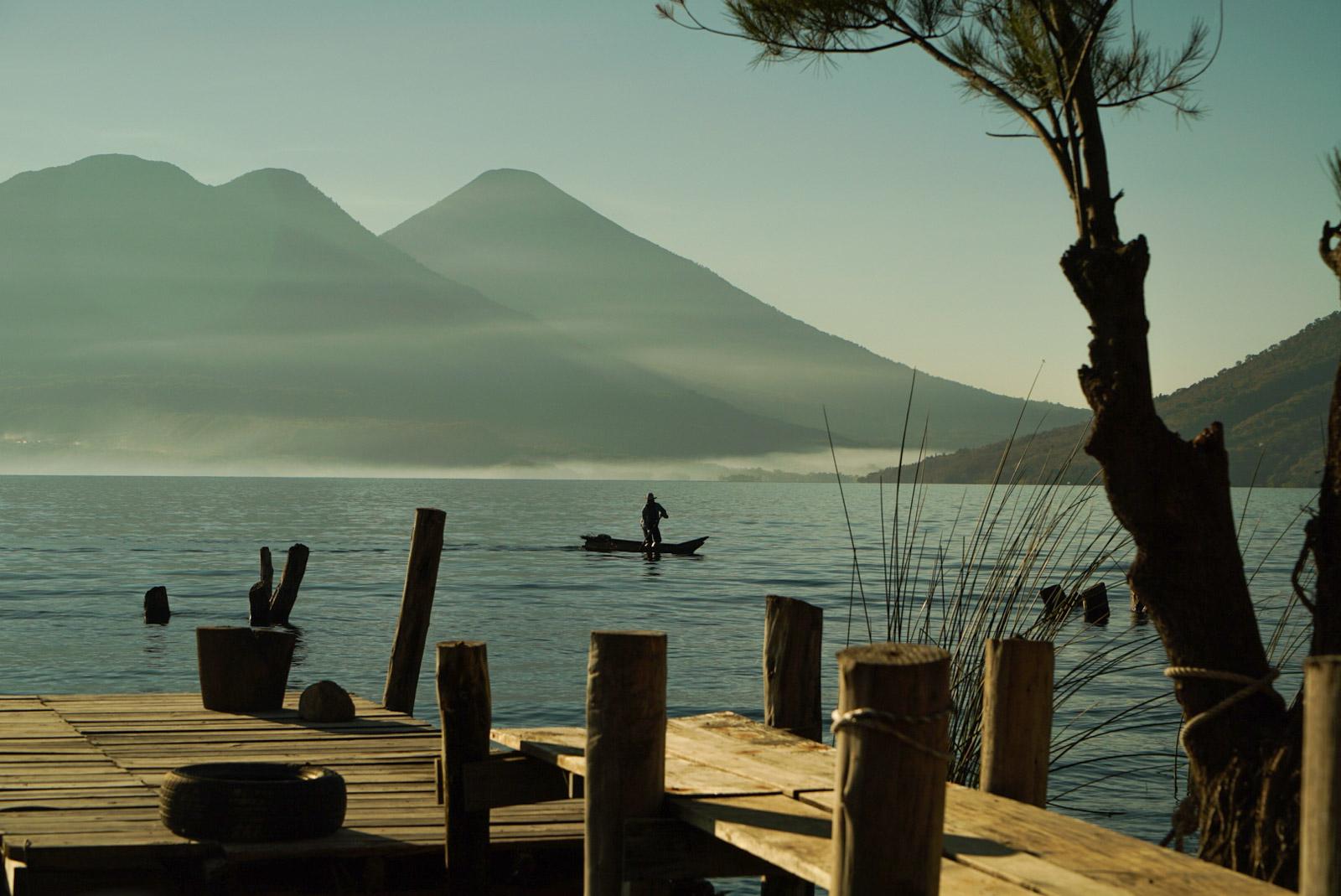 3-Guate-Lake-Atitlan-Fisherman-Volcanoes