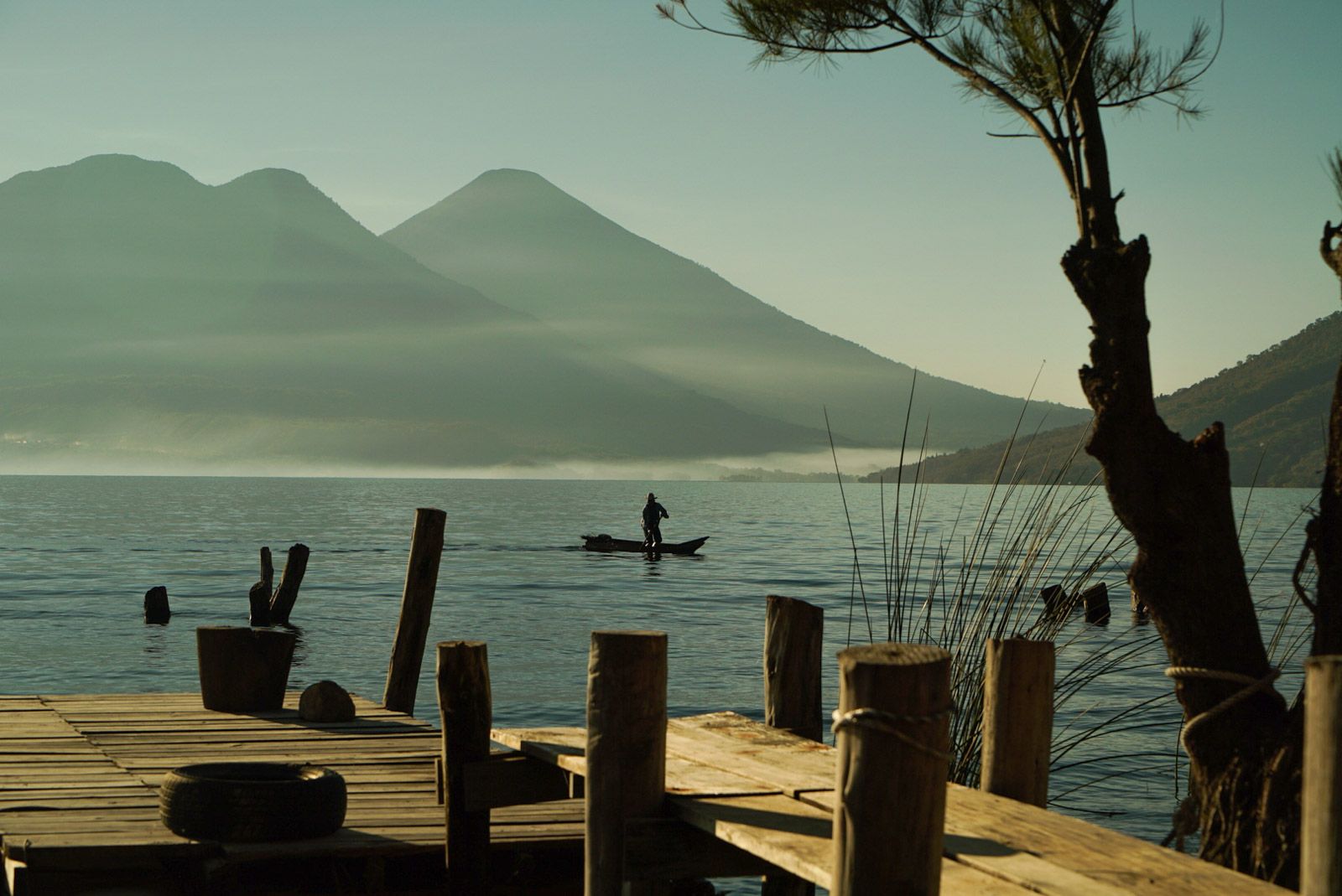 3-Guate-Lake-Atitlan-Fisherman-Volcanoes