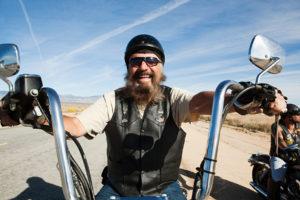 Portrait of senior motorcyclist